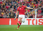 Twickenham, Great Britain,  Dan BIGGAR, kicking through the ball for a penalty kick, during the Pool A game, Australia vs Wales.  2015 Rugby World Cup,  Venue, Twickenham Stadium, Surrey, ENGLAND.  Saturday  10/10/2015.   [Mandatory Credit; Peter Spurrier/Intersport-images]