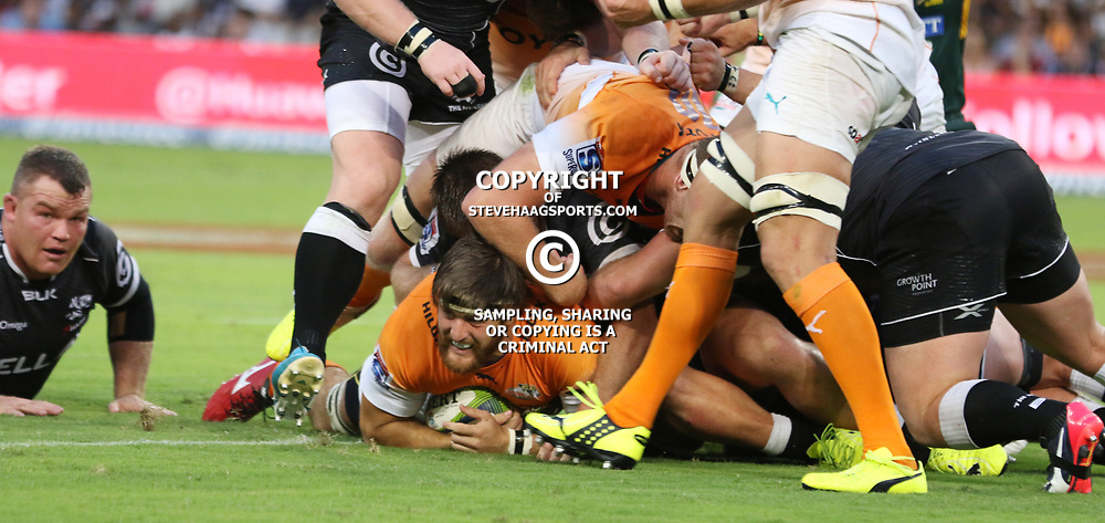 DURBAN, SOUTH AFRICA - FEBRUARY 14: Try for Boom Prinsloo of the Cheetahs during the Super Rugby match between Cell C Sharks and Toyota Cheetahs at Growthpoint Kings Park on February 14, 2015 in Durban, South Africa. (Photo by Steve Haag/Gallo Images)