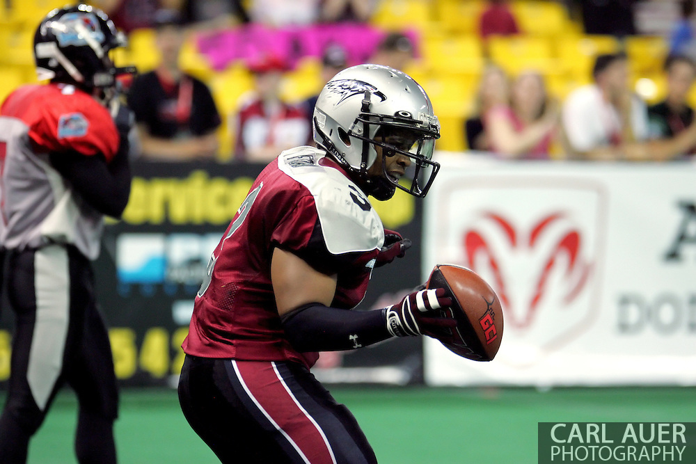 6-28-2007: Anchorage, AK - Thomas Ford Jr. of the Wild celebrates a touchdown in the Alaska Wild 47 to 53 loss to the CenTex Barracudas at the Sullivan Arena.