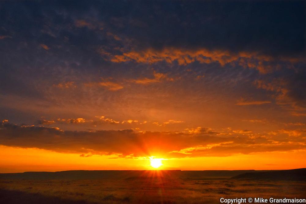 Sunrise on grasslands, Grasslands National Park, Saskatchewan, Canada