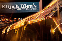 """Elijah Bleu's House of Coffee 2"" This photo of Elijah Bleu's in Downtown Truckee, CA was achieved by moving the camera lens during a long exposure."