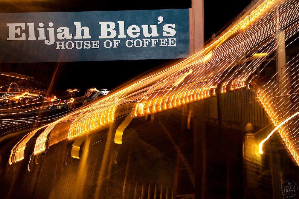 """""""Elijah Bleu's House of Coffee 2"""" This photo of Elijah Bleu's in Downtown Truckee, CA was achieved by moving the camera lens during a long exposure."""