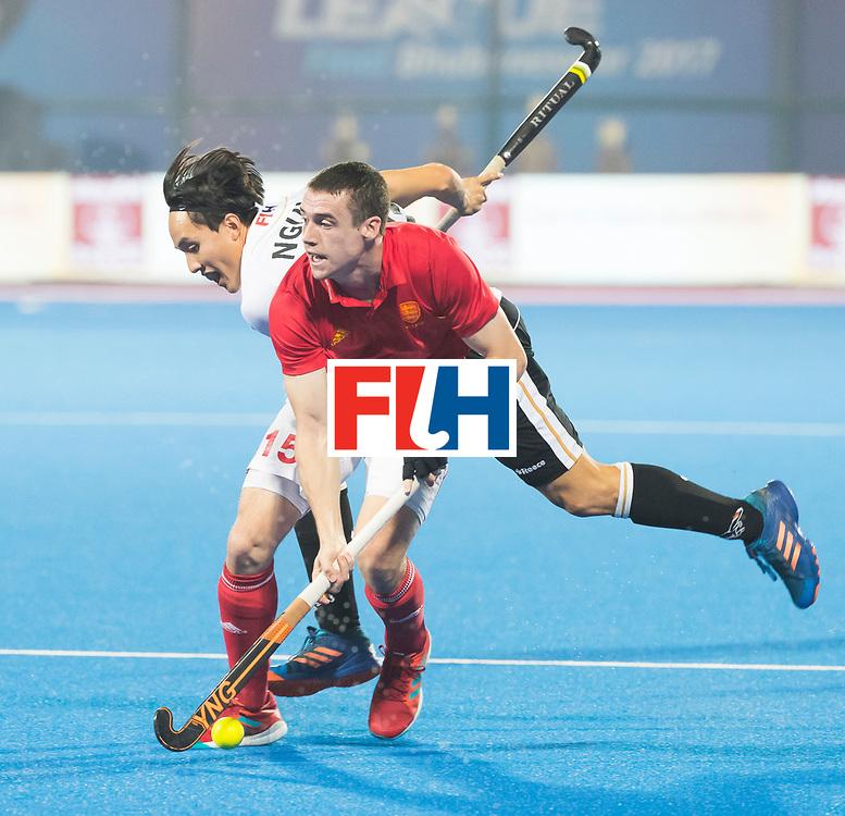 BHUBANESWAR - The Odisha Men's Hockey World League Final . Match ID 01 . Germany v England (2-0). Phil Roper (Eng) with  Dan Nguyen (Ger) . WORLDSPORTPICS COPYRIGHT  KOEN SUYK