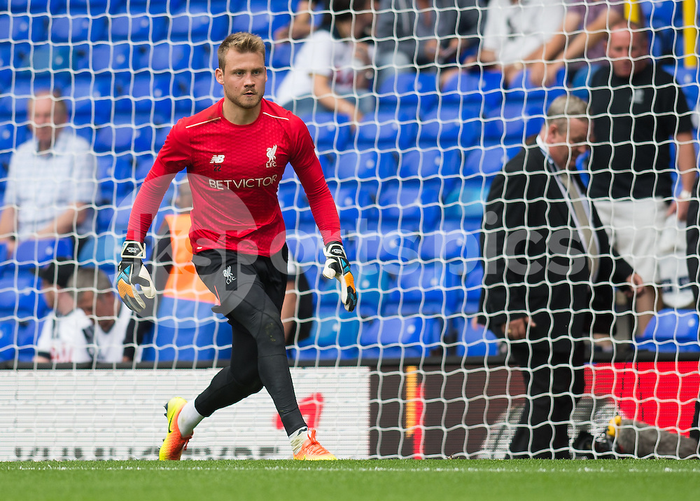Simon Mignolet of Liverpool warms up before the Premier League match between Tottenham Hotspur and Liverpool at White Hart Lane, London, England on 27 August 2016. Photo by Vince  Mignott.