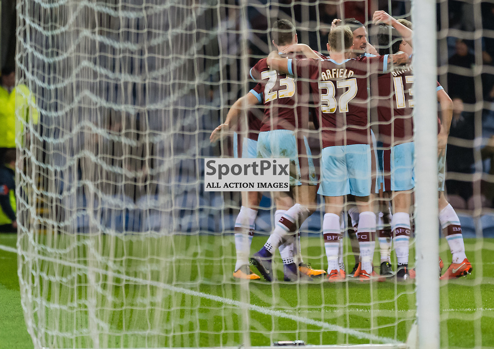 Burnley players celebrate the opening goal in the Championship match between Burnley and Nottingham Forest<br /> <br /> (c) John Baguley | SportPix.org.uk