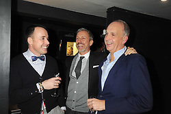 Left to right, DAVID FURNISH, PATRICK COX and RICHARD JAMES at a dinner to celebrate 30 years of Odette's restaurant, held at Odette's, 130 Regents Park Road, London NW1 on 24th November 2008.