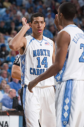 28 December 2006: North Carolina Tarheel forward (14) Danny Green and guard (2) Wayne Ellington during a 87-48 Rutgers Scarlet Knights loss to the North Carolina Tarheels, in the Dean Smith Center in Chapel Hill, NC.<br />