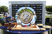 The St Leger Trophy and Winning Jockeys Cap during the fourth and final day of the St Leger Festival at Doncaster Racecourse, Doncaster, United Kingdom on 14 September 2019.