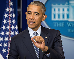 November 14, 2016 - Washington, District of Columbia, U.S. - U.S. President BARACK OBAMA speaks during a news conference in the Brady Press Briefing Room at the White House. President Obama urged Americans to give President-elect Donald Trump a chance. (Credit Image: © Ken Cedeno via ZUMA Wire)