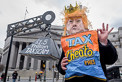 April 17, 2018 - New York, New York, United States - The Tax Cheato - On Tax Day, April 17, 2018, one year after the first Tax March, communities across the country are taking action and speaking out against the Trump Tax. Grassroots activists, elected officials, and community leaders joined together at more than 100 events happening from coast to coast to fight for an economy that works for all Americans, not just the wealthy few. In New York City, activists held the People's Tax Day Action Festival at Foley Square. (Credit Image: © Erik Mcgregor/Pacific Press via ZUMA Wire)