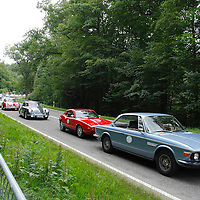 BMW E9 (1968-72) and Saab Sonett III in front of the group of Porsche 356s, Solitude Revival 2011, Germany