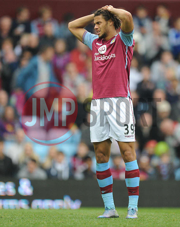 Dejected looking Rudy Gestede of Aston Villa - Mandatory byline: Alex James/JMP - 07966 386802 - 03/10/2015 - FOOTBALL - Villa Park - Birmingham, England - Aston Villa v Stoke City - Barclays Premier League