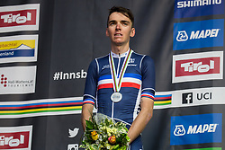 Podium / Romain Bardet of France Silver Medal / Celebration / during the Men Elite Road Race a 258.5km Race from Kufstein to Innsbruck 582m at the 91st UCI Road World Championships 2018 / RR / RWC / on September 30, 2018 in Innsbruck, Austria. Photo by Vid Ponikvar / Sportida