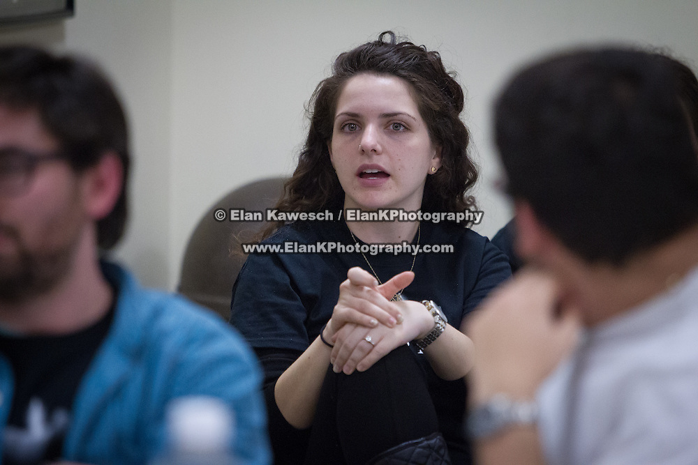 """Discussion titled """"Take Two: Resistance and the 3G's"""" as part of Northeastern University's Holocaust Remembrance Day at Northeastern University Hillel on April 8, 2014 in Boston, Massachusetts. (Photo by Elan Kawesch)"""