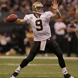 2008 October, 12: New Orleans Saints quarterback Drew Brees (9) threw for 320-yards and three touchdowns in a 34-3 victory over the Oakland Raiders at the Louisiana Superdome in New Orleans, LA.