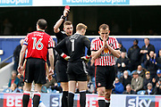 Sunderland goalkeeper Jason Steele (1) gets sent off by Referee Robert Jones during the EFL Sky Bet Championship match between Queens Park Rangers and Sunderland at the Loftus Road Stadium, London, England on 10 March 2018. Picture by Andy Walter.
