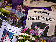"22 APRIL 2016 - MINNEAPOLIS, MN: Part of the memorial for Prince at 1st Ave in Minneapolis. Thousands of people came to 1st Ave in Minneapolis Friday to mourn the death of Prince, whose full name is Prince Rogers Nelson. 1st Ave is the nightclub the musical icon made famous in his semi autobiographical movie ""Purple Rain."" Prince, 57 years old, passed away Thursday, April 21, 2016, at Paisley Park, his home, office and recording complex in Chanhassen, MN.    PHOTO BY JACK KURTZ"