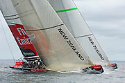 Emirates Team New Zealand`s newest race yacht NZL92 (L) in tests against NZL84 on the Hauraki Gulf. 27/10/2006
