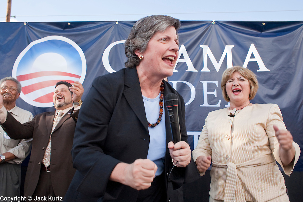 Sept. 10, 2008 -- PHOENIX, AZ: JANET NAPOLITANO, the Governor of Arizona and early supporter of Barack Obama attends a rally marking the opening of the Obama campaign office in Phoenix. The Barack Obama presidential campaign opened an office in Phoenix Wednesday just five miles from the home of Republican presidential candidate John McCain. About 400 Obama supporters came the opening.   Photo by Jack Kurtz