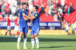 Harlee Dean and Maxime Colin of Birmingham City celebrate the win at the final whistle  - Mandatory by-line: Arron Gent/JMP - 14/09/2019 - FOOTBALL - The Valley - Charlton, London, England - Charlton Athletic v Birmingham City - Sky Bet Championship
