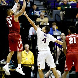 Jan 14, 2017; Baton Rouge, LA, USA; Alabama Crimson Tide guard Corban Collins (3) shoots over LSU Tigers guard Skylar Mays (4) during the second half of a game at the Pete Maravich Assembly Center. Alabama defeated LSU 81-66. Mandatory Credit: Derick E. Hingle-USA TODAY Sports