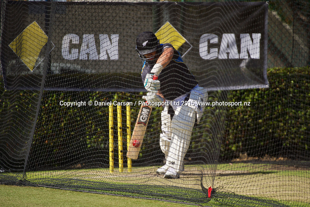 The Black Caps bat in the nets during the training session on the 12th of November 2015. The New Zealand Black Caps tour of Australia, 2nd test at the WACA ground in Perth, 13 - 17th of November 2015.   Photo: Daniel Carson / www.photosport.nz