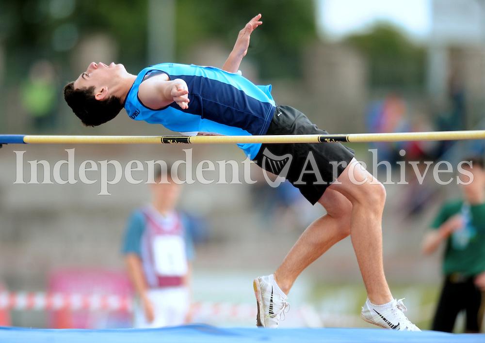 21 Aug 2016:Darragh Markey, from Dublin.  Boys U16 High Jump final.  2016 Community Games National Festival 2016.  Athlone Institute of Technology, Athlone, Co. Westmeath. Picture: Caroline Quinn