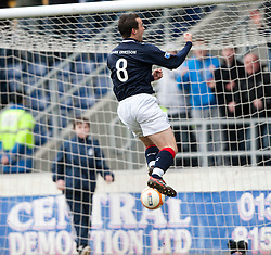 Falkirk's Mark Millar cele scoring the equalizing goal from the penalty spot..Falkirk 1 v 1 Partick Thistle, 10/3/2012..©Michael Schofield.