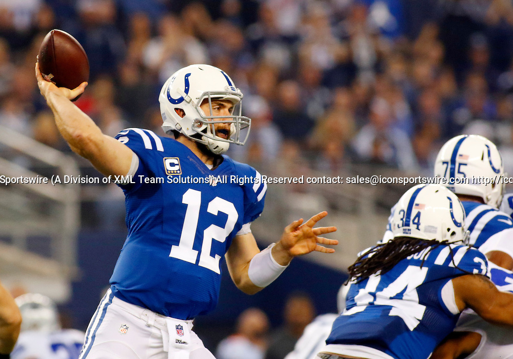 21 DEC 2014: Indianapolis Colts Quarterback Andrew Luck (12) [14978] during an NFL regular season game between the Indianapolis Colts and Dallas Cowboys at AT&T Stadium in Arlington, TX.