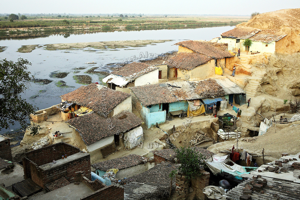 A small section of the slum located on the banks of the Ganges river within the tannery area of Jajmau, Kanpur, Uttar Pradesh, is seen from a hilltop surrounding the area.