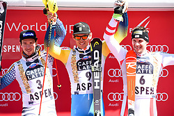 19.03.2017, Aspen, USA, FIS Weltcup Ski Alpin, Finale 2017, Slalom, Herren, Siegerehrung, im Bild Felix Neureuther (GER, 2. Platz), Andre Myhrer (SWE, 1. Platz), Michael Matt (AUT, 3. Platz) // second placed Felix Neureuther of Germany, race winner Andre Myhrer of Sweden, third placed Michael Matt of Austria during the winner award ceremony for the men's Slalom of 2017 FIS ski alpine world cup finals. Aspen, United Staates on 2017/03/19. EXPA Pictures © 2017, PhotoCredit: EXPA/ Erich Spiess