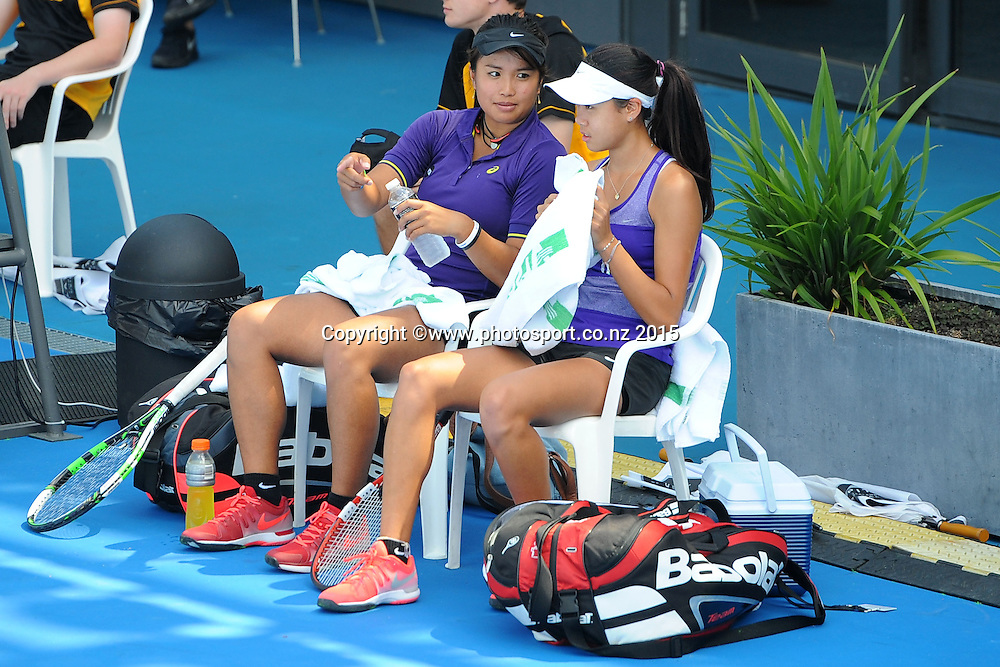 L-R New zealand players Katherine Westburyon and Rosie Cheng during their doubles match on Day 2 of the ASB Classic Women's International. ASB Tennis Centre, Auckland, New Zealand. Tuesday 6 January 2015. Copyright photo: Chris Symes/www.photosport.co.nz