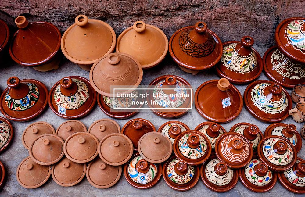 Tagine pots for sale in the Medina in Marrakech, Morocco, North Africa<br /> <br /> <br /> (c) Andrew Wilson | Edinburgh Elite media