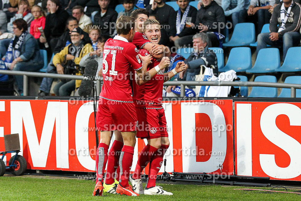 25.09.2015, Rewirpower Stadion, Bochum, GER, 2. FBL, VfL Bochum vs 1. FC Kaiserslautern, 9. Runde, im Bild Jubel v.l. Marcus Piossek (#8, 1. FC Kaiserslautern) (Torschuetze) mit Antonio Colak (#10, 1. FC Kaiserslautern) und Chris Loewe (#31, 1. FC Kaiserslautern) ueber das 0zu2 // during the 2nd German Bundesliga 9th round match between VfL Bochum and 1. FC Kaiserslautern at the Rewirpower Stadion in Bochum, Germany on 2015/09/25. EXPA Pictures &copy; 2015, PhotoCredit: EXPA/ Eibner-Pressefoto/ Deutzmann<br /> <br /> *****ATTENTION - OUT of GER*****