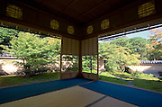 Photo shows the garden at Juryu-an tea house inside the grounds of the Adachi Museum of Art in Yasugi, Shimane Prefecture, Japan..Photographer: Robert Gilhooly