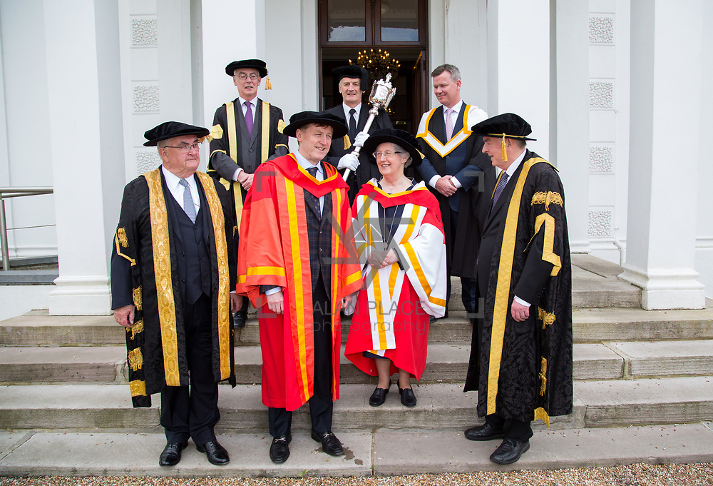 26.04.2017.          <br /> UL Confers individuals from the worlds of education and business. <br /> The University of Limerick today conferred Honorary Doctorates on two exceptional individuals from the worlds of business and education.&nbsp; <br /> Sr Angela Bugler, former President of Mary Immaculate College Limerick who was conferred with the honorary degree of Doctor of Letters. <br /> Vincent  Roche, President and CEO of Analog Devices Worldwide, who was conferred with an honorary degree of Doctor of Engineering. Picture : Alan Place