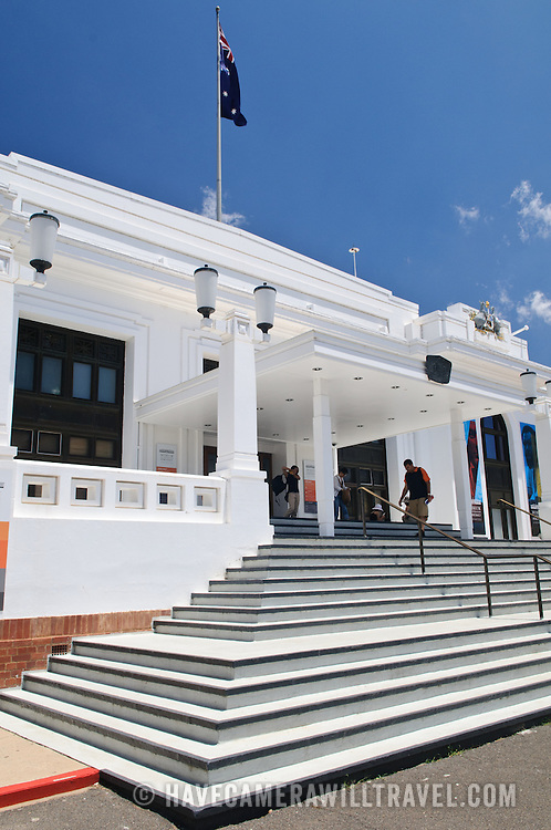 Steps at the main entrance of the Old Parliament House in Canberra, Australia. The building is now devoted to a Museum of Australian Democracy.