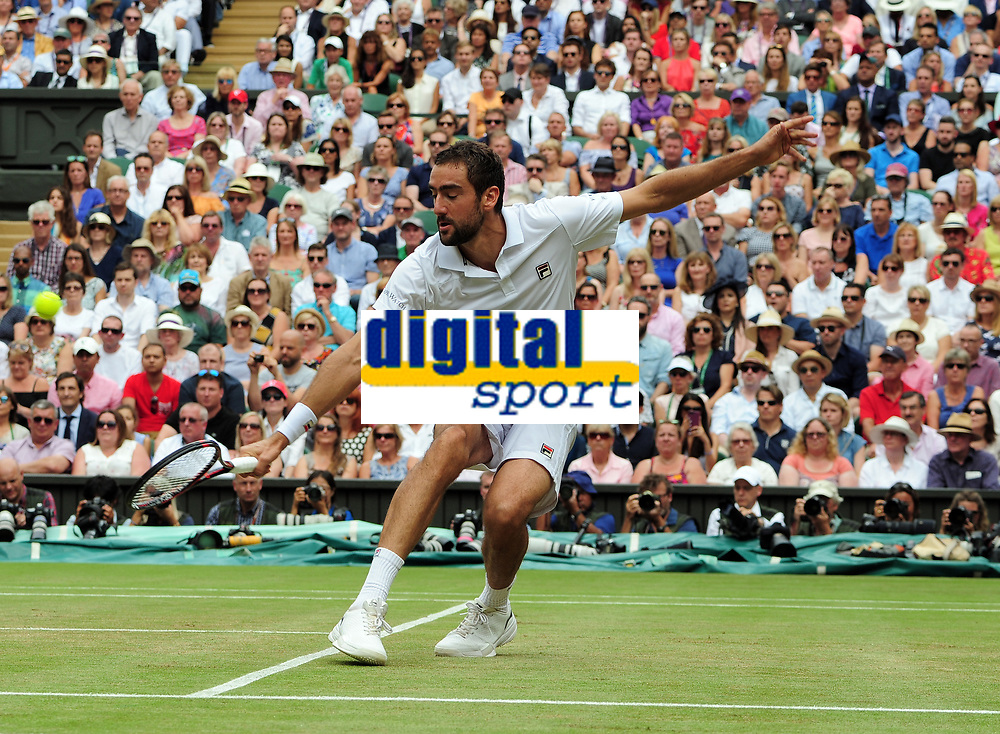 Tennis - 2017 Wimbledon Championships - Week Two, Sunday [Day Thirteen]<br /> 	<br /> Men Doubles Final match	<br /> <br /> Marin Cilic (CRO) vs Rodger Federer (SUI)<br /> 	<br /> Marin Cilic on  Centre court <br /> 	<br /> COLORSPORT/ANDREW COWIE