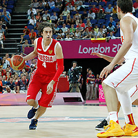 10 August 2012: Russia Alexey Shved brings the ball upcourt during 67-59 Team Spain victory over Team Russia, during the men's basketball semi-finals, at the North Greenwich Arena, in London, Great Britain.