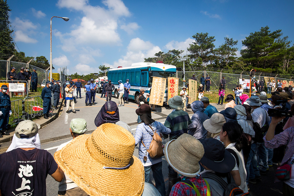 OKINAWA, JAPAN - AUGUST 19 : Anti U.S base protesters staged a protest against the construction of helipads in front of the main gate of U.S. military's Northern Training Area in the village of Higashi, Okinawa Prefecture, on August 19, 2016. Japanese government resume construction of total six helipads in a fragile ten million year old Yanbaru forest that is home to endemic endangered species such as the Okinawan rail and Okinawa wood pecker. (Photo by Richard Atrero de Guzman/NURPhoto)