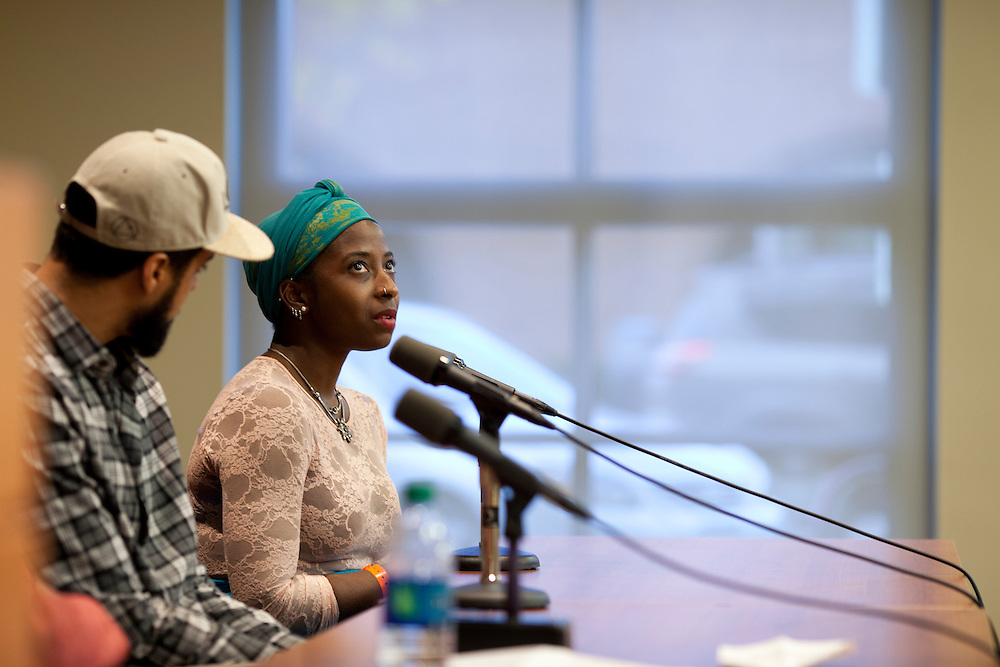 University of Iowa Writers Workshop participant Alea Adigweme speaks about her influences as a writer on a panel called Black Art/White Space during the Witching Hour Festival in Iowa City, Iowa on Friday, November 6, 2015. The panel delved into notions of ethnic identity and how black artists work in America's predominantly white spaces.