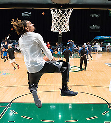 March 20, 2017 - Reno, Nevada, U.S - Reno Bighorn Guard CAM GRIFFIN (17) dunks during pregame warmups of the NBA D-League Basketball game between the Reno Bighorns and the Texas Legends at the Reno Events Center in Reno, Nevada. (Credit Image: © Jeff Mulvihill via ZUMA Wire)