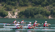 Aiguebelette, FRANCE.  USA W2x bow Meghan O'LEARY and Ellen TOMEK lead the A  Finals at the  .  13:25:04  Sunday  22/06/2014. [Mandatory Credit; Peter Spurrier/Intersport-images]