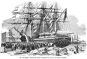 Caroline Chisholm (born Jones - (1808-1877). Born at Wootton, Northamptonshire, England. Campaigned for improvement of conditions for female emigrants to Australia and for family emigration. Here addressing crowd from emigrant ship 'Ballengeich' before it departed from Southampton. August 1852.