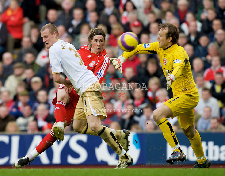 LIVERPOOL, ENGLAND - Saturday, February 23, 2008: Liverpool's Fernando Torres scores his hat-trick goal against Middlesbrough's goalkeeper Mark Schwarzer during the Premiership match at Anfield. (Photo by David Rawcliffe/Propaganda)