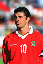 MINSK, BELARUS - Saturday, September 4, 1999: Wales' captain Gary Speed before the UEFA Euro 2000 Qualifying Group One match against Belarus at the Dinamo Stadium. (Mandatory credit: David Rawcliffe/Propaganda)