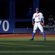 NEW YORK, NEW YORK - APRIL 30:  Curtis Granderson #3 of the New York Mets fielding at right field in the late afternoon sunshine during the New York Mets Vs San Francisco Giants MLB regular season game at Citi Field on April 30, 2016 in New York City. (Photo by Tim Clayton/Corbis via Getty Images)
