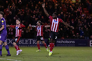 GOAL - John Akinde (29) celebrates during the EFL Sky Bet League 1 match between Lincoln City and Tranmere Rovers at Sincil Bank, Lincoln, United Kingdom on 14 December 2019.