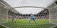 EINDHOVEN, PSV - FC Groningen, voetbal Eredivisie seizoen 2014-2015, 15-03-2015, Philips Stadion, PSV speler Nicolas Isimat (M liggend) scoort de 2-1, FC Groningen keeper Sergio Padt (M) en FC Groningen speler Simon Tibbling (L) zijn kansloos.