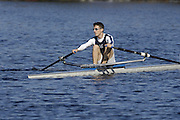 Boston, Massachusetts,  Rowing News intern Mike MILNE, sculling down to the start with his coach, at the Forty Second, [42nd] Head of the Charles, 22/10/2006.  Photo  Peter Spurrier/Intersport Images...[Mandatory Credit, Peter Spurier/ Intersport Images] Rowing Course; Charles River. Boston. USA